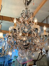 Beautiful Pink & Crystal Large Chandelier Can Wire Or Plug Into Wall