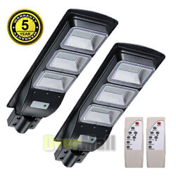2 Pack 998000LM Solar LED Street Light Commercial Parking Lot Lamp Outdoor IP65