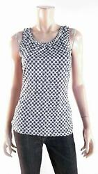 Merona Womens size S Cami Tank Top Pull Over Scoop Neck Ruched Geometric Blue $4.99