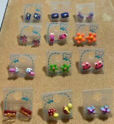 Novelty Kids Metal Free Earrings Lot of 12 Grab bag $9.99