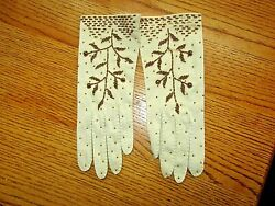 VINTAGE GLOVES W EMBROIDERED BRASS BEADS IN ORG BAG STUNNING HTF $18.99