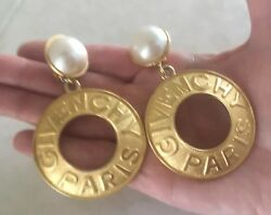 GIVENCHY VINTAGE STATEMENT EARRINGS MEDALLION AND FAUX PEARL VERY RARE $545.00