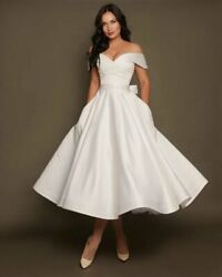 Wedding Dress Size 4 6 8 by VehovaDresses Tea Length Short Wedding Dress Satin
