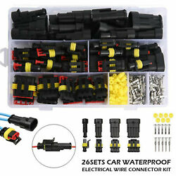 26 Sets Waterproof Car Auto Electrical Wire Connector Plug 1-4 Pin Way Plug Kit $16.97
