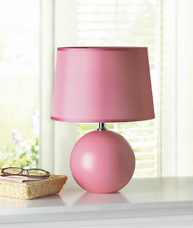 Pink 15quot; SMALL round globe orb ceramic bedside Table Lamp night light desk shade $46.00