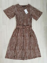 BROWN STRIPED DRESS size 12 white WRAP OVER matching belt NEXT summer $22.51