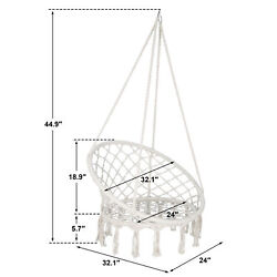 Beige Hanging Cotton Rope Macrame Hammock Chair Swing Outdoor Indoor $42.99
