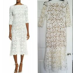 Oscar de la Renta White 34-Sleeve Lace Dress size 4 US Brand New