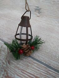 NWT BROWN Lantern Tree Ornament Farmhouse Rustic Old Fashioned Country LAMP $3.99