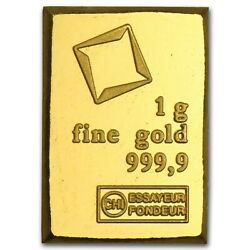 1 Gram Fine Gold Bar - Assayed .9999 Pure Fine Bullion - Valcambi Suisse Swiss $73.47