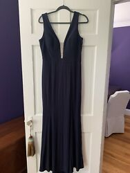 Xscape Ladies Size 12 Navy Ball Evening Gown Prom Formal Dress