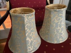 Lamp Shades Pair of French Toile Bell Lamp Shades Green amp; Gold 9quot; x9quot; x 5quot; $44.00