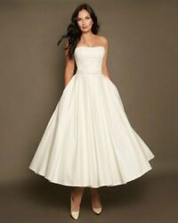Short Wedding Dress Size 8 A line Tea Length Wedding Dress Ivory