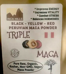 TRIPLE MACA 4 Oz  POWDER ROJA+NEGRA+AMARILLA  *GUARANTEED PURE* HIGH QUALITY ✅ $12.85