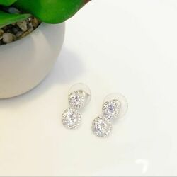 Diamante Circle Rhinestone Mini Drop Earrings Pierced Silver Tone Mini Bridal $18.00