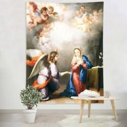 Oil Painting Virgin Mary Angels Tapestry Wall Hanging Living Room Bedroom Dorm $21.99