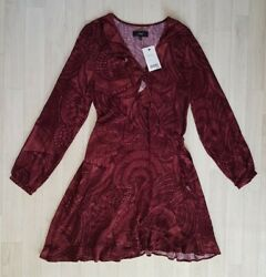 WRAP OVER DRESS size 14 brown FRILL long sleeves NEXT summer V-NECK mini  $23.76