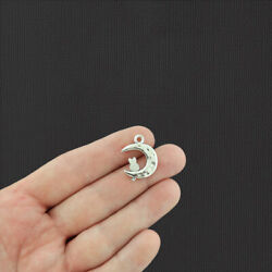 BULK 50 Cat Moon Antique Silver Tone Charms 2 Sided - SC1467 $10.49