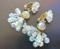 VTG CRYSTAL FACETED AURORA BOREALIS CHANDELIER CLIP ON EARRINGS $14.99