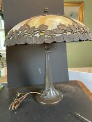 Vintage Arts amp; Crafts Bent Slag Glass Table Lamp by Bradley amp; Hubbard Cir 1920 $655.00