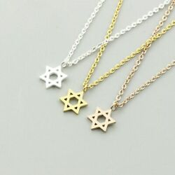 Small Jewish Star Of David Pendant Necklace Silver Gold Stainless Steel Jewelry $6.97
