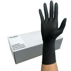 Nitrile Heavy Duty Gloves 12quot; Length 8mil Black FAST SHIP $23.68