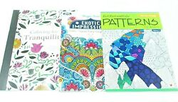 3 Adult Coloring Books set lot #229 ~ Tranquility ~ Exotic ~ Patterns vol 3 $9.49