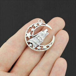 Wolf Moon Antique Silver Tone Charm 2 Sided - SC4165 $3.94