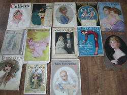 13 SHE SHED Antique Pictorial Review-Ladies Home Journal Covers Only LOT 1910's