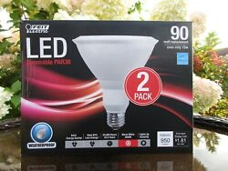 12 2 packs Feit Outdoor Indoor 90 Wt Replacement PAR38 LED Fld Lght Dimmable