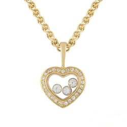 Chopard Yellow Gold Happy Diamonds Pendant Necklace 16
