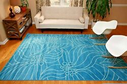 RUGS AREA RUGS CARPETS 7x10 RUG LARGE FLOOR MODERN COOL BEDROOM FLORAL BLUE RUGS $129.00