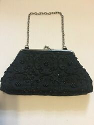 Bijoux Terner Black Evening Bag Handbag Beaded Kiss Lock Closure