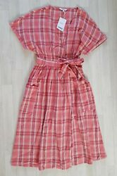 NEXT size 10 pink CHECKED WRAP OVER DRESS skater SUMMER casual KNEE LENGTH  $23.76
