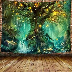 Fantasy Forest 3D Tree Tapestry Psychedelic Wall Hanging Throw Blanket scenic $22.99