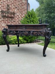 Antique French Table Mahogany Chinoiserie RENAISSANCE Carved Console Entry Table $2575.00