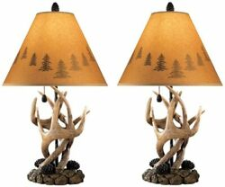 Ashley Furniture Signature Antler Table Lamps Mountain Styles Rustic L316984 2ps $160.02