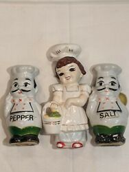 Vintage Hong Kong Chubby Italian Chefs and Waitress Salt and Pepper Shakers $19.99