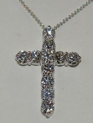 2.64CT DIAMOND CROSS NECKLACE IN 18KT WHITE GOLD-PRONG SET-1 18
