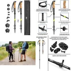 Cascade Mountain Tech Trekking Poles Carbon Fiber Strong Adjustable Hiking Or $59.99