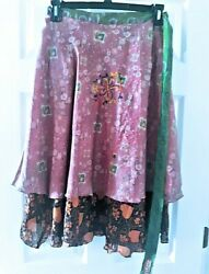 Karina Designs Wrap-A-Round Skirt  Reversible..Hippie  Gypsy .. Retro .. Flare $25.00