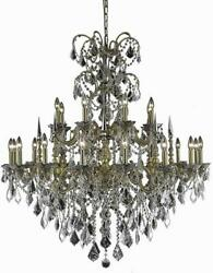 ATHENA CHANDELIER TRADITIONAL ANTIQUE 24-LIGHT FRENCH GOLD CLEAR CRYSTAL R