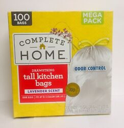 "Mega Pack 100 Drawstring Tall Kitchen Bags Odor Control 13 Gallon 24"" X 27.4"" $13.99"