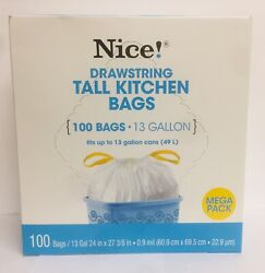 "Nice Drawstring 100 Tall Kitchen Bags 13 Gallon 24"" X 27 3 8"" $14.99"