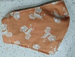 HANDMADE Orange Scooter Fabric Face Mask Filter pocket Cotton Olson Style $12.99