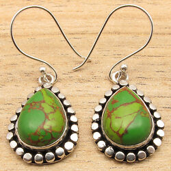 GREEN COPPER TURQUOISE Gems Ethnic Jewelry Dangle Earrings 925 Silver Plated $5.50