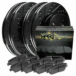 [FRONT+REAR KIT] Black Hart *DRILLED & SLOTTED* Brake Rotors +Ceramic Pads C2660 $164.62