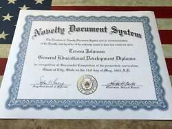 Fun Novelty Diploma Novelty GED Custom Foil Seals Custom Documents $50.00