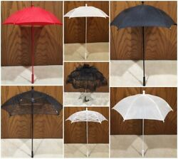 Victorian Styled Parasols Black White Ivory Red Yellow Lace amp; Solid Reproduction $15.99