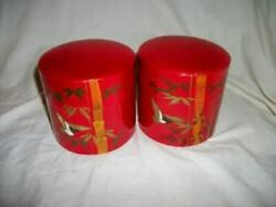 VINTAGE TOLE TEA CANISTERS HP JAPAN PAIR CHINOISERIE RED EARLY MID CENTURY $53.99